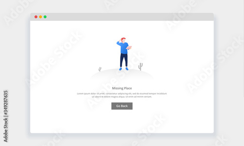 Modern flat design concept of confused man looking at map , page doesn't exist for website and mobile website. empty states page template