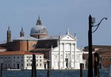 View From Castello With San Giorgio Maggiore In Venice. City Landscape With Adriatic Sea.