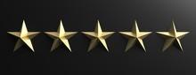 5 Stars Gold Color Sign On Bla...