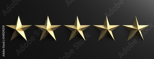 Photographie 5 stars gold color sign on black background, 3d illustration