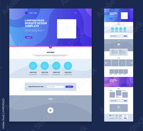 Landing Page Website Design Template Set Poster Mural XXL