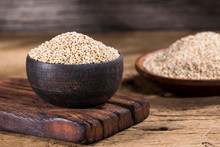 Wooden Bowl With Quinoa Grains...
