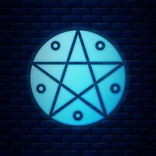 Glowing Neon Pentagram In A Ci...