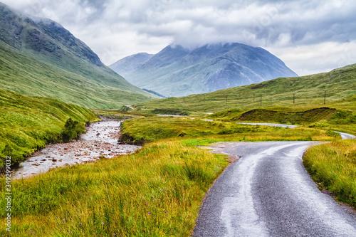 Glencoe or Glen Coe and Glen Etive valley, panoramic view landscape in Lochaber, Scottish Higlands, Scotland, Great Britain, UK Wallpaper Mural