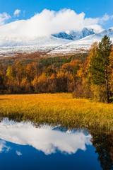 Panel Szklany Rzeki i Jeziora Autumn landscape with mountains and lake