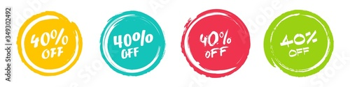 Valokuva Set of grunge sticker with 40 percent off in a flat design