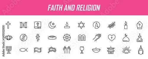 Stampa su Tela Set of linear religion icons
