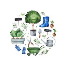 Watercolor Gardening Frame Bor...