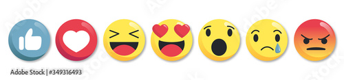 Set of emoticon buttons - collection of emoji reactions for social network - vector illustration