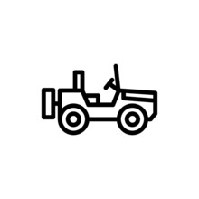 Military Off Road Vehicle Icon Vector In Outline Style On White Background, Filled Flat Sign, Solid Pictogram Isolated On White, Symbol, Logo Illustration