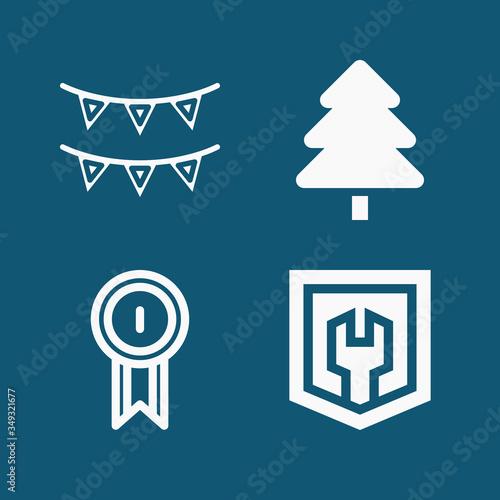 Fényképezés Set of 4 ornaments filled icons