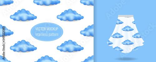 Seamless pattern on white skirt mockup with blue clouds print Billede på lærred