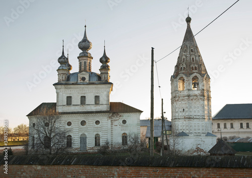 Cathedral of Michael Archangel and bell tower at monastery of Michael Archangel in Yuryev-Polsky Canvas Print