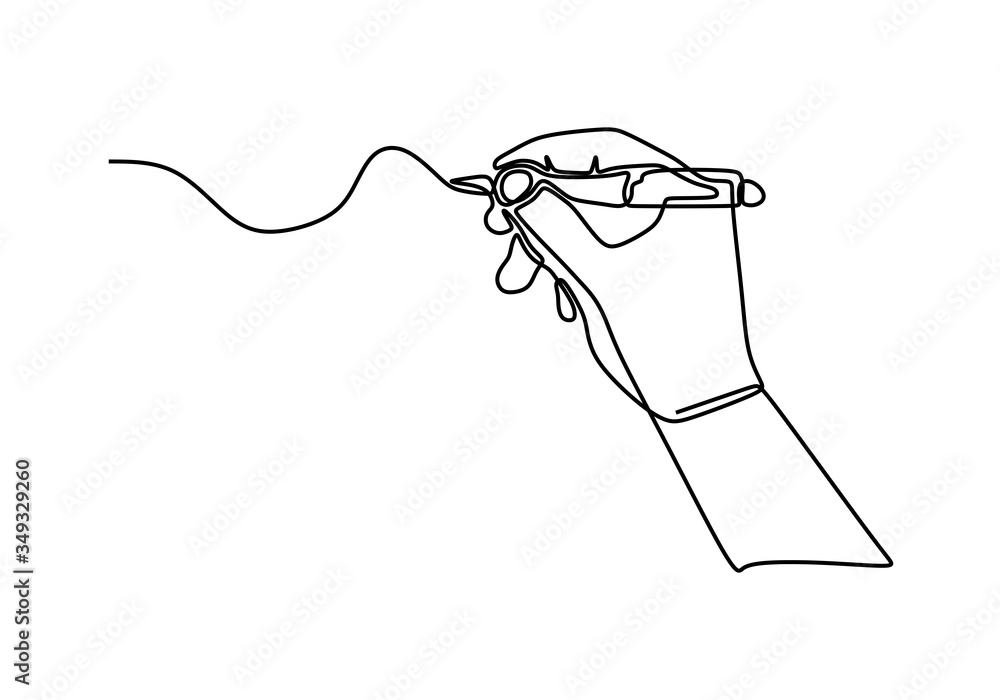 Fototapeta Continuous one line drawing hand palm fingers gestures pen, pencil. Ballpoint in hand. Writing or drawing with ink pen. Vector illustration minimalist design isolated on white background.