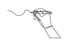 Continuous One Line Drawing Hand Palm Fingers Gestures Pen, Pencil. Ballpoint In Hand. Writing Or Drawing With Ink Pen. Vector Illustration Minimalist Design Isolated On White Background.