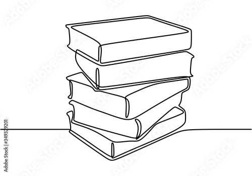 Vászonkép One line drawing of stack of books