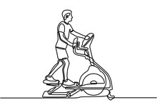 One Continuous Line Drawing Of Young Energetic Man Working Out Relax With Elliptical Cross. Sport Man Doing Exercise. Healthy Fitness Sport Concept. Trendy One Line Draw Design Vector Illustration