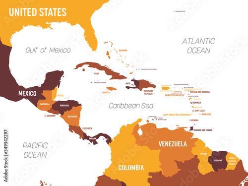 Central America map - brown orange hue colored on dark background Fototapet