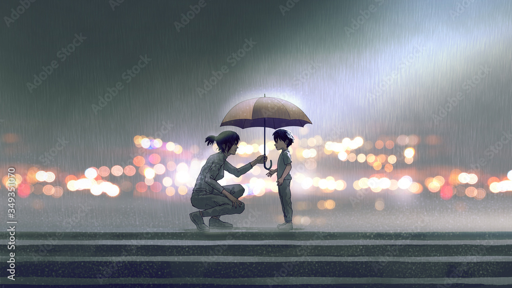 Fototapeta the woman gives an umbrella to the boy in the rain, digital art style, illustration painting