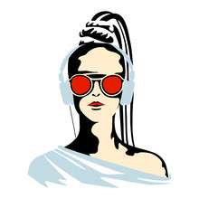 Vector Graphic Illustration Of Girl, Listening Music. Beautiful Silhouette Simple Close Up Face With Sunglasses, Headphones. Minimalistic Style, Vintage, Street Art, Hand Drawn Stylish Sketch