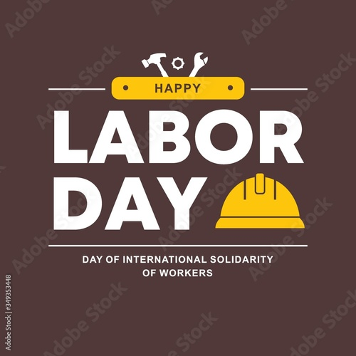 Fotografie, Tablou Happy Labor Day banner. Vector illustration, Design template.