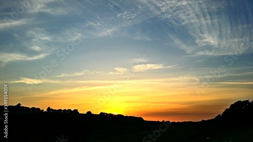 Fototapety, obrazy: Silhouette Landscape And Yellow Sunset