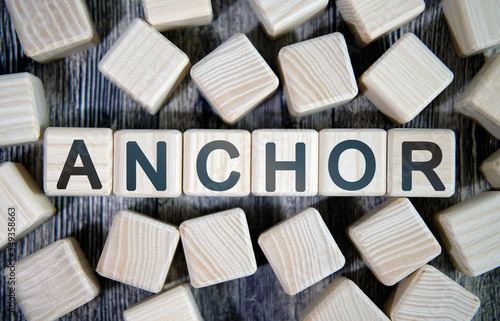 Anchor links - text concept website on a wooden background surrounded by cubes Canvas-taulu