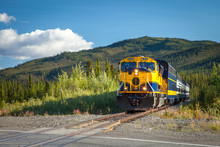 Train Running Through Alaskan Countryside