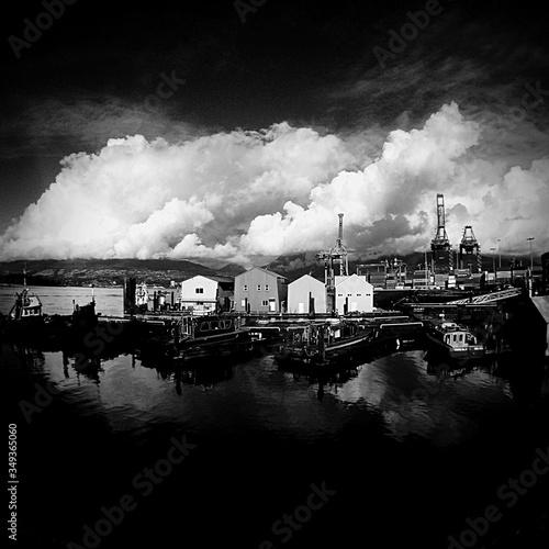 Commercial Dockyard Against Dramatic Sky Fototapet