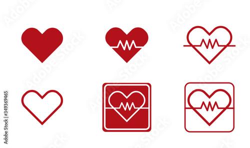 Fotografie, Tablou heart rate monitor / heart sensor icons - heart shaped vector icons for heart ra