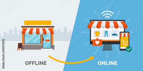 Retail offline to online Fototapet