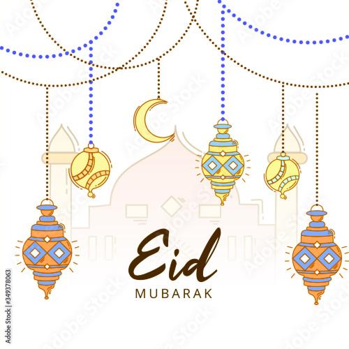 Obraz Eid Mubarak Celebration Islamic Background - fototapety do salonu
