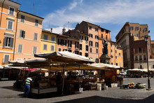 View Of The Campo Dei Fiori Without Tourists Due To Phase 2 Of The Lockdown