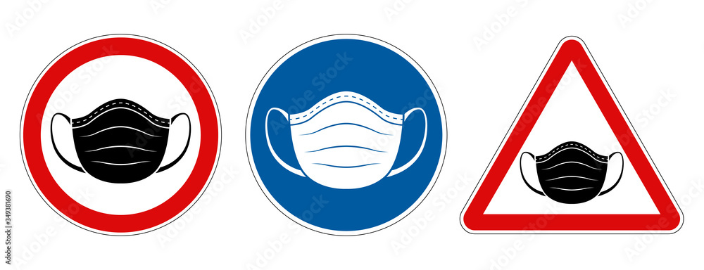 Fototapeta Face mask requirement warning symbol signs