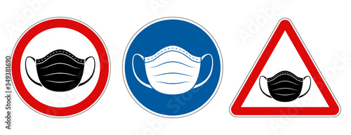 Valokuvatapetti Face mask requirement warning symbol signs
