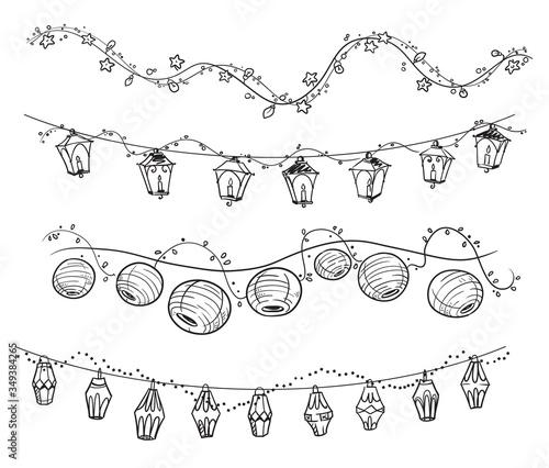 set of decorative light garlands, party decoration vector line art Canvas-taulu
