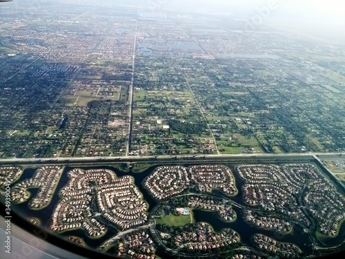 Ariel View Of Residential District Seen Through Airplane Window Canvas Print