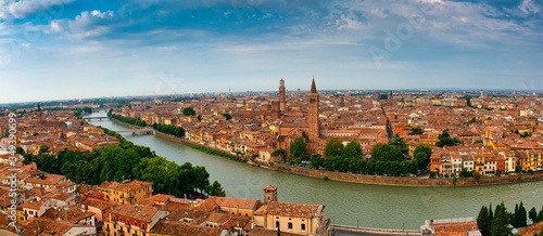 A Panorama of Verona taken from the hill on the other side of the river Adige Canvas Print