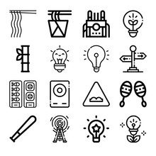 Set Of 16 Mentality Lineal Icons