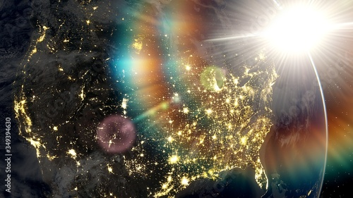 Fotografie, Obraz realistic united states of america from space, night usa from space, east coast