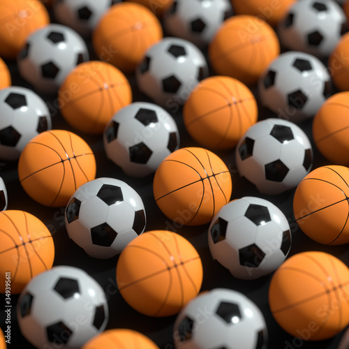 Repeating sports ball pattern with black background, 3d rendering.