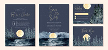 Wedding Invitation Set With Full Moon And Seascape Watercolor