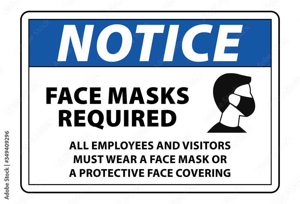 Fototapeta notice face mask required sign vector label