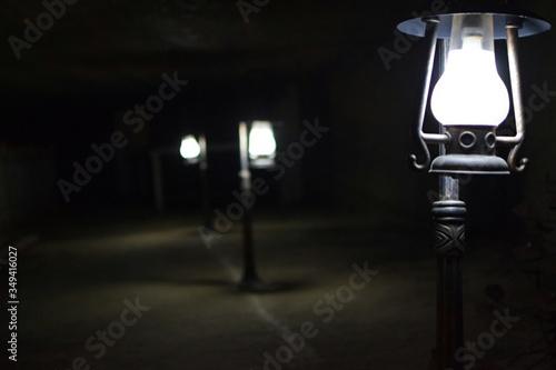 Fototapeta Illuminated Street Lights At Night