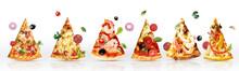 Pizza Slices Tasty  Set Tomato Salami Ham Delicious Cheese Oregano Olives Food Mass Restaurant 3d Realistic Basil Onion