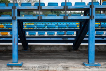 Empty Blue Plastic Seats In A ...