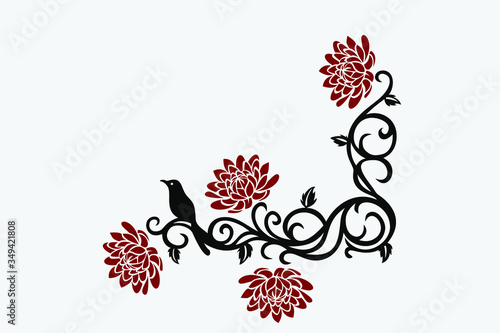 Valokuva Creative Width Floral Branch Wall Decal,Wall Decals & Stickers