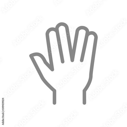 Fotografía Vulcan salute line icon. Live long and prosper gesture symbol
