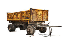 Old Yellow Truck Semi-trailer On A White Background