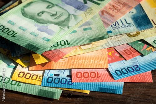 Fotografía Costa Rica money, Various banknotes, all denominations of paper